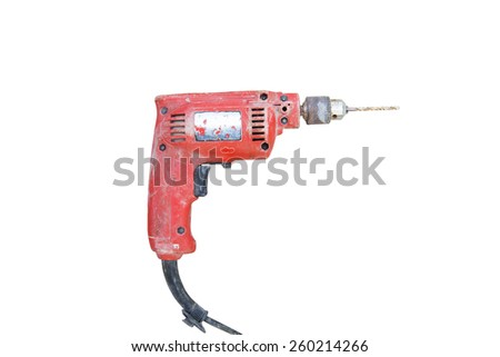 A red old electric drill isolated on white background - stock photo