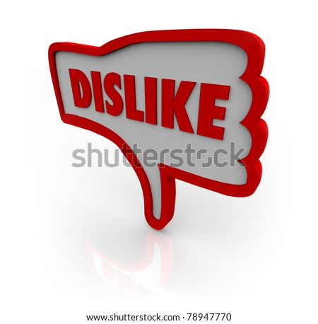A red outlined thumb down icon with the word Dislike illustrating your displeasure for a website or object under your review - stock photo