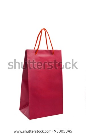 A red paper bag for shopping - stock photo