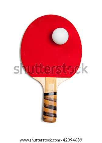 A red ping pong paddle on a white background - stock photo
