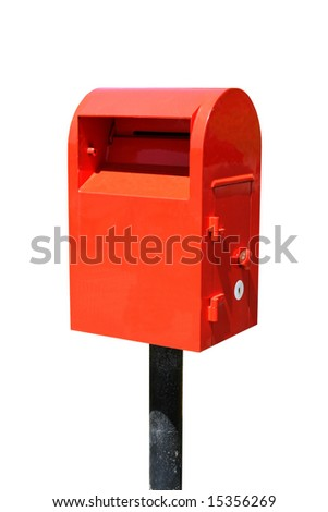 A red post box isolated on white - stock photo