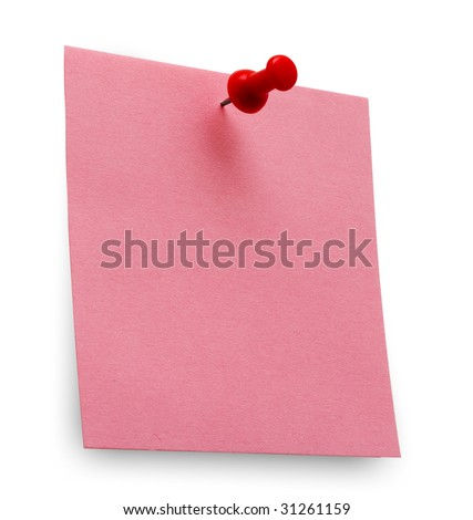 A red post it note with spin isolated with clipping path. Studio light. - stock photo