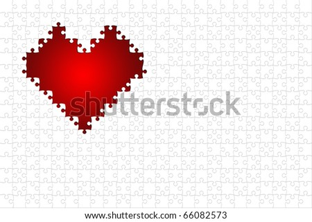 A red puzzle heart with white puzzle pieces