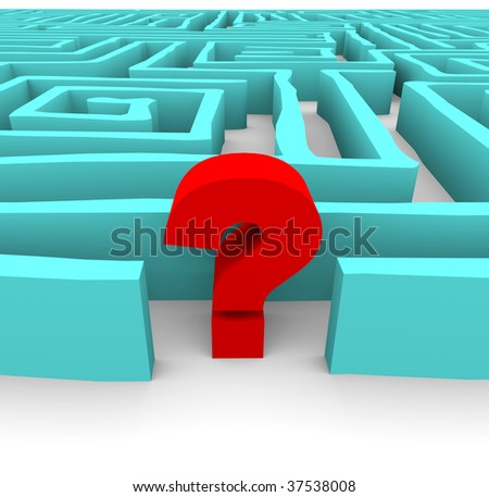 A red question mark stands in a blue labyrinth, symbolizing a challenge or confusion