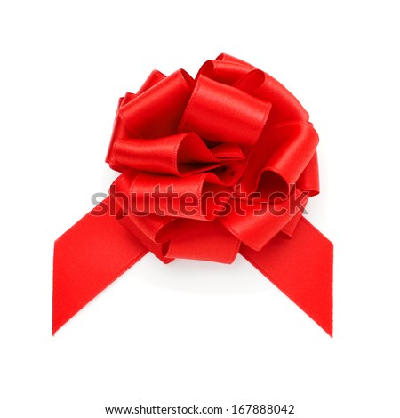 a red ribbon bow on a white background - stock photo