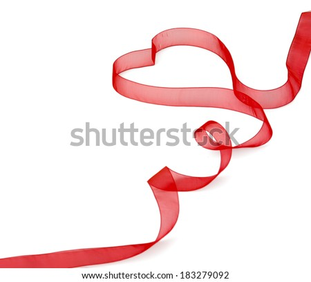 A red ribbon shaping heart , isolated on white background - stock photo