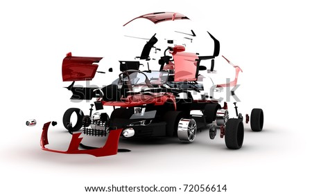 A red sport car exploded in many parts - stock photo
