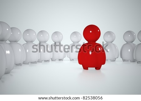 A red stylized human surrounded by a lot of white men - stock photo