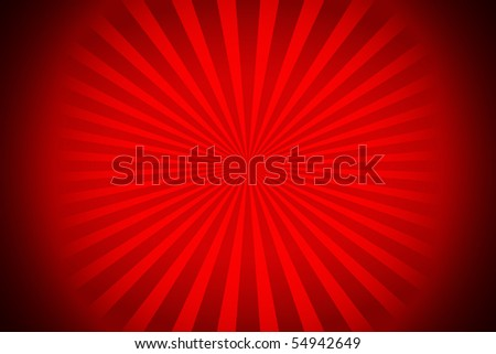 A red sunburst vectorized rays with black corners - stock photo