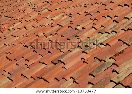 A red terra cotta roof provides wonderful color, texture and pattern