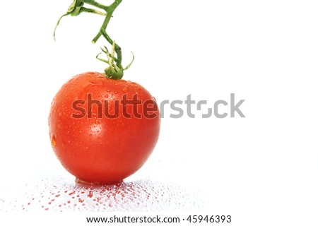 a red tomatoes on a white background