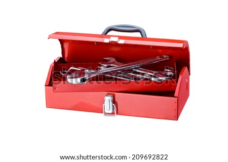 A red toolbox on a white background.