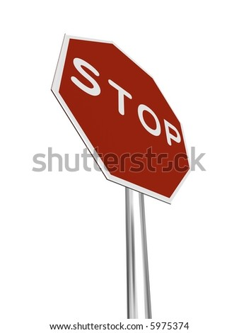 A red, traffic, STOP sign, made on a 3D rendering software. (isolated on white)