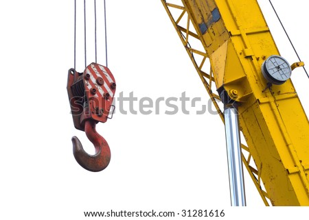 A red truck crane hook a cable - stock photo