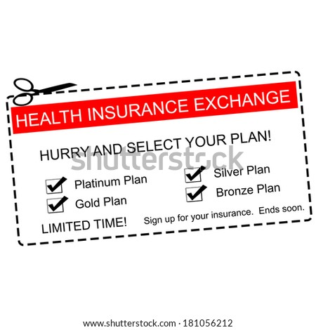 A red, white and black Health Insurance Exchange Coupon making a great concept with terms such as platinum, gold, silver and more.