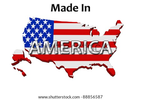 A red, white and blue map of the USA with Made in America isolated on a white background, Made in America