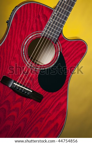 Red Wood Color Acoustic Electric Guitar Stock Photo Royalty Free