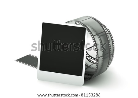 a reel of film with photo page - stock photo