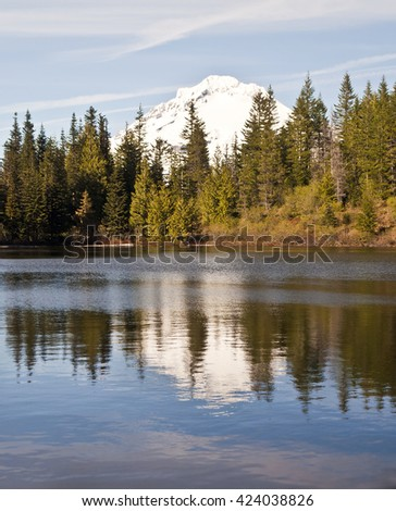 A reflection of Mount Hood in the mirror lake Oregon - stock photo