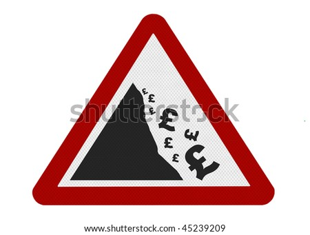 A reflective metallic sign depicting falling currency (UK), isolated on a pure white background. - stock photo