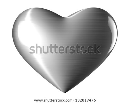 A reflective steel heart with white background - stock photo