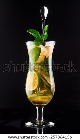 A refreshing drink with lemon and mint - stock photo