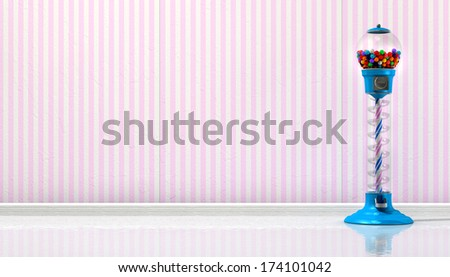 A regular blue vintage gumball dispenser machine made of glass and reflective plastic with multicolored gumballs in a retro candy store background with pink striped wallpaper background - stock photo