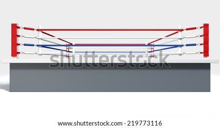 A regular boxing ring surrounded by ropes on an isolated white background
