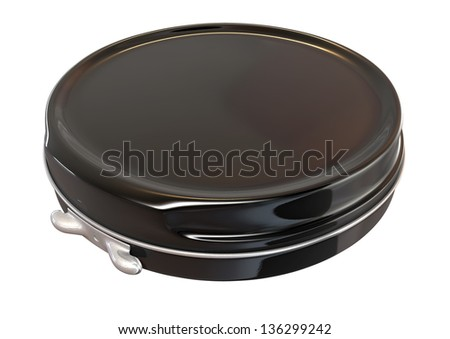 A regular disk shaped black metal tin closed on an isolated background - stock photo