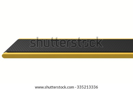 A regular empty belt conveyor on an isolated white studio background - stock photo