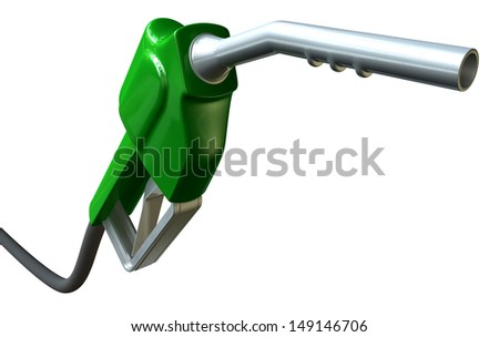A regular green and metal fuel pump handle and nozzle on an isolated white background