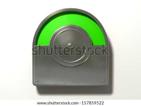A regular public restroom metal door mechanism indicating green for vacant on an isolated white textured background - stock photo