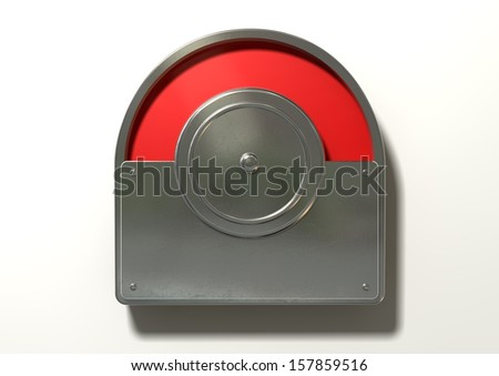 A regular public restroom metal door mechanism indicating red for occupied on an isolated white textured background - stock photo