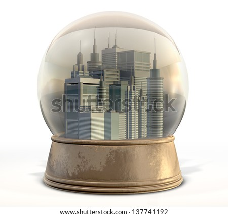 A regular snow globe with a skyscraper city surrounded by pollution and smog on an isolated background - stock photo
