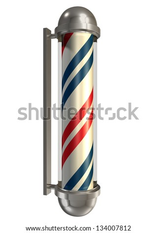 A regular vintage barbers pole in chrome blue white and red on an isolated background