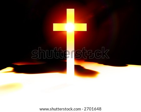 A religious cross with some added illumination, the image is suitable for religious concepts.