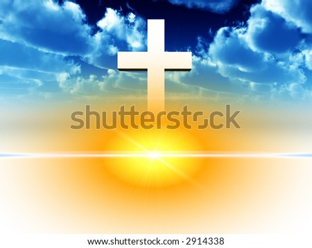 A religious cross with some added illumination, the image is suitable for religious concepts. - stock photo