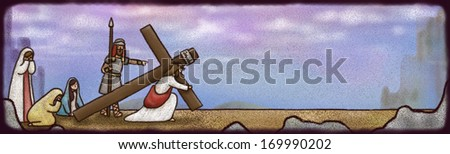 A religious figure carries a cross and is followed by a group of people. - stock photo
