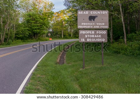 A reminder to campers that black bears are prevalent in Shenandoah National Park - stock photo