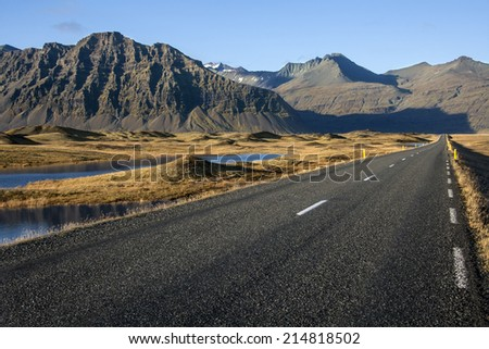 A remote country road near Hofn in southern Iceland.