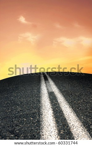 A remote road in sunset - stock photo