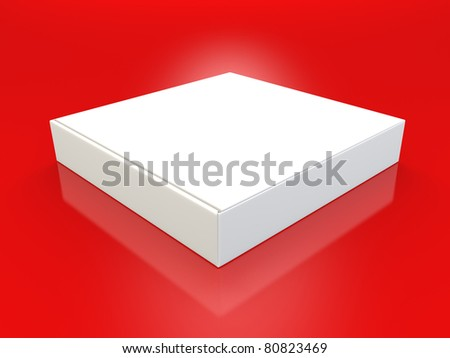 A render of a blank pizza box over red - stock photo
