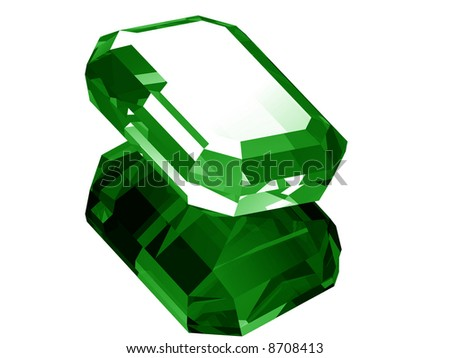 A render of a 3d Emerald isolated on a white background with reflection. - stock photo