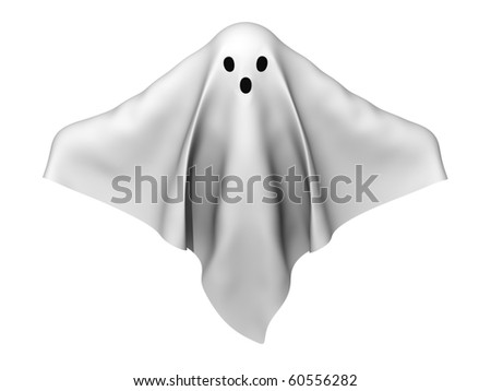 A render of a ghost made of sheets - stock photo
