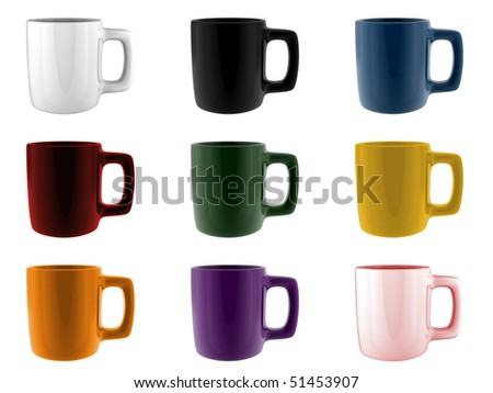 A render of a set of different colored mugs - stock photo