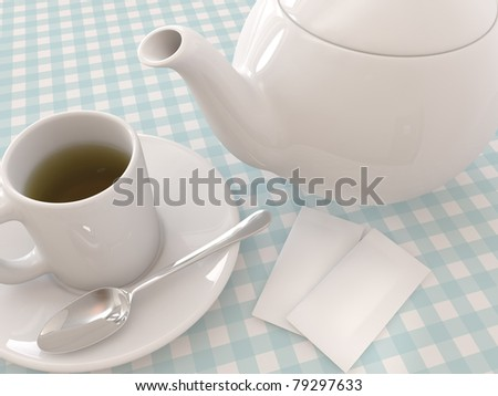 A render of a Teapot and a mug with tea, spoon and sugar - stock photo