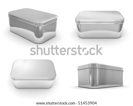 A render of different views of a metallic box - stock photo