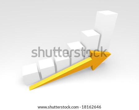 a rendered bar chart - stock photo