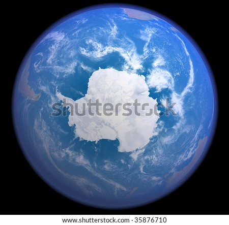 A rendered 3d illustration showing the Antarctic as seen from space - stock photo