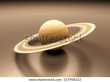 A rendered presentation of the gas-giant planet Saturn. - stock photo
